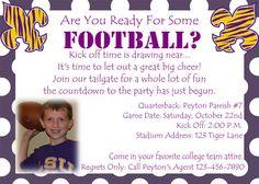 LSU Football Birthday Invitation by 3psinapod2011 on Etsy, $11.99