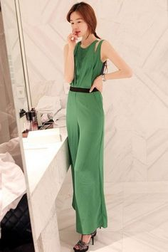 Charming Off-shoulder Pure Color Jumpsuit Green