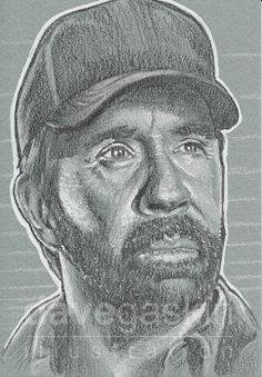 "3"" x 4"" sketch card of Chuck Norris"