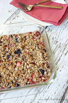 Gluten Free and Dairy Free meets delicious in this make-ahead Berry Baked Oatmeal recipe.  It's the perfect breakfast recipe for any diet with ingredients from @walmart! #ad #sponsored