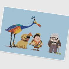 PDF Cross Stitch pattern ---- UP ---- Pixar Disney Carl Balloon Dream Old man Boy Dog Bird Ellie Russell Kevin. $8.50, via Etsy.