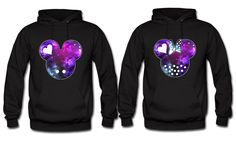 Mickey and Minnie Galaxy colors couples hoodies sweatshirts in black for Disney trips. Personalize by adding name or date by BlackoWhite on Etsy