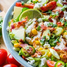 { MAKE it today! Your people will THANK YOU! 😍 } This dressing is… Vegan Chicken Salad, Southwestern Chicken Salads, Honey Lime Dressing, Clean Recipes, Cobb Salad, Homemade, How To Make, Food, People