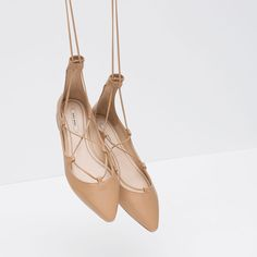 Image 2 of TIE-UP LEATHER BALLERINAS from Zara