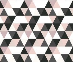 Blush black and white Triangles fabric by crystal_walen on Spoonflower - custom fabric