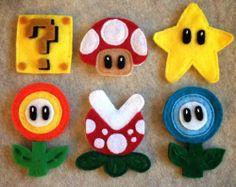 Manualidades en fieltro, imanes para la nevera con la forma de los personajes de Mario Bros
