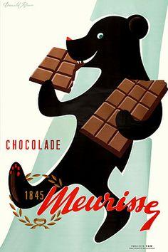 Vintage Chocolate Bear Poster -Donald Brun