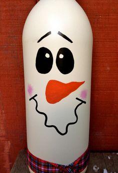 Snowman Wine Bottle Décor / Cute & Classy Holiday por Hinzpirations