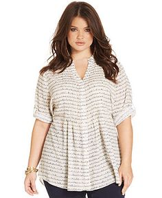 6f694fffc86ed American Rag Plus Size Three-Quarter-Sleeve Printed Blouse Plus Sizes -  Tops - Macy s