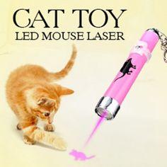 2016 Creativo y Divertido Gato Juguetes LED Animación Ratón Puntero Láser Pluma ligera Con Brillante Color Al Azar