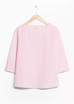 & Other Stories image 1 of Fold Sleeve Cotton Blouse in Pink