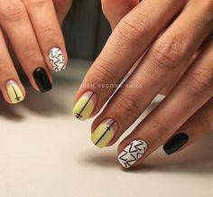 Fun patterns and solid colors Spring Nail Art, Spring Nails, Love Nails, Pretty Nails, Negative Space Nails, Nail Bar, Beautiful Nail Art, Mani Pedi, Nail Trends