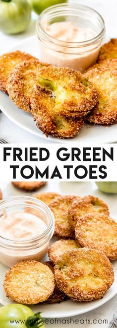 Fried Green Tomatoes are crispy on the outside and tangy and juicy on the inside. They are a fantastic appetizer all on their own, or you can use them to make salads, serve as a side, or use to top sandwiches and burgers! #fried #greentomatoes #friedgreentomatoes #appetizer #best #homemade #classic #southern #tomatoes #sidedish