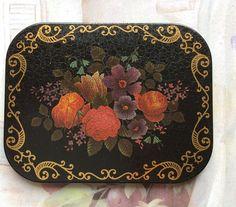 Set or Eleven Vintage Black Red & Gold Floral Coasters.