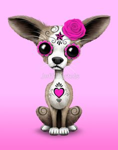 Pink Day of the Dead Sugar Skull Chihuahua Puppy