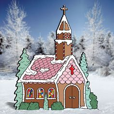 "Gingerbread Church Pattern;  This beautiful church would be a fine addition to any of our gingerbread patterns (See page 62 for more gingerbread fun!). 48""H x 39""W.   Pattern #2222  $14.95   ( crafting, crafts, woodcraft, pattern, woodworking, yard art ) Pattern by Sherwood Creations"