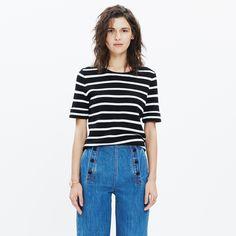 A simple cuffed sweater in a supersoft wool blend, this minimalist striped design is as easy to wear as a tee (but more polished). <ul><li>True to size.</li><li>Wool/acrylic.</li><li>Dry clean.</li><li>Import.</li></ul>