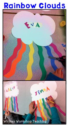Great simple art project to brighten up the classroom! Hang from strings or fill a bulletin board. Whimsy Workshop Teaching by carlani Rainbow Theme, Rainbow Art, Kindergarten Art, Preschool Crafts, Foam Crafts, Classroom Crafts, Classroom Themes, Easy Art Projects, School Projects