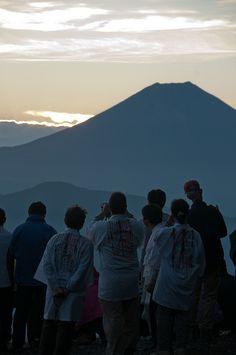 Watching the first sun on Mt. Fuji