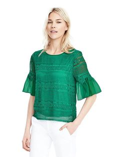 short-sleeve lace top from Banana Republic