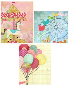 Art Girl Nursery Toddler Decor Balloons Carnival 8 by by LilyCole, $20.00