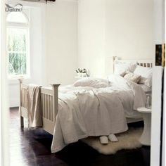 Colour for living room - Dulux White Cotton Cosy Bedroom, Bedroom Decor, Bedroom Ideas, Master Bedroom, Dulux White Cotton, Dulux Timeless, White Bedroom Design, Up House, Shack House