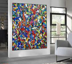large canvas wall art abstract, large abstract painting original, colorful abstract painting on canvas, oversized wall art abstract Large Canvas Wall Art, Abstract Canvas Art, Pollock Paintings, Oversized Wall Art, Colorful Paintings, Original Paintings, Etsy