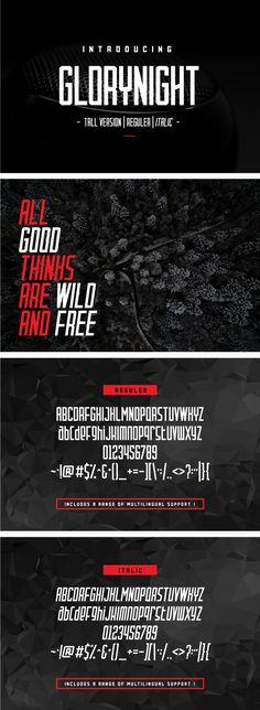 Glorynight Tall Ver - Condensed Sans-Serif