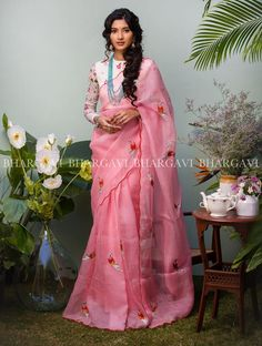 light pink organza saree from bhargavi kunam