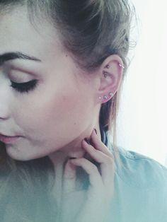 My triple lobe, helix & rook piercing
