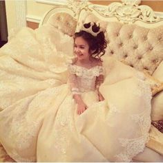 Luxurious Lace Champange Organza Flower Girl Dresses With Three Quarter Sleeve Kids Beauty Pageant Ball Gowns For Girls Vestidos White Pageant Dresses, Little Girl Pageant Dresses, Girls White Dress, Gowns For Girls, Girls Party Dress, Birthday Dresses, Girls Dresses, Party Dresses, Pageant Gowns