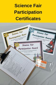 Colorful science fair certificates that make a great keepsake for parents and students. Decorative and professional looking certificates. Just type in the name or mail merge and then print. Saves you time on planning the fair. Science Fair Experiments, Science Fair Projects, Fourth Grade Science, Upper Elementary Resources, Next Generation Science Standards, Science Resources, Teacher Hacks, Science Classroom