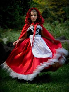 Hooded Cape in Satin with Rose Embellishments - Little Red Riding Hood Costume