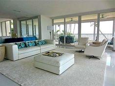 modern living room - beach house - white couch - blue pillows- C. Alexander Design - Naples: