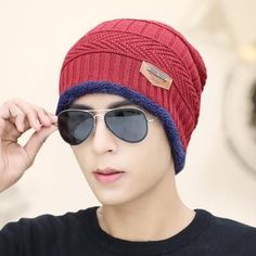 df2b4158261 Kioninai Beanie Mask Hat Skullies Neck Sets Plus Size 6 Colors Keep Warm  For Men Balaclava Wool Bonnet Knitted Hat Winter Cap