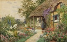 A Young Girl in a Cottage Garden ~ Ernest Walbourn ~ (English: 1872-1927)