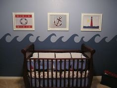 Sailor baby boy room. :)... But with clouds and cuter pics and a shelf with name maybe???