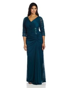 Adrianna Papell Women's Plus Size Drape Covered Gown