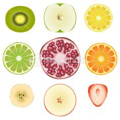 Fruit Slice Set Royalty Free Stock Vector Art Illustration