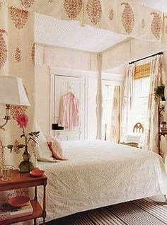 White. Red. Paisley Indian Fabric. Woven Bamboo Shade. Bed Curtains.