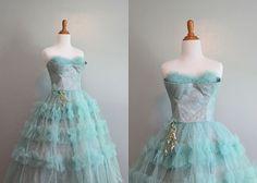 Reserved...50s Prom Dress / 50s Strapless Shelf Bust Party Dress / Vintage Dress / 1950s Dress