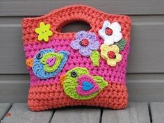 Crochet Purses Design Girls Bag / Purse with Birds and Flowers Crochet by EvasStudio / meas. x / easy pattern / CROCHET pattern / for your little diva - Bag Crochet, Crochet Shell Stitch, Crochet Girls, Crochet Handbags, Crochet Purses, Crochet Slippers, Love Crochet, Crochet For Kids, Crochet Crafts