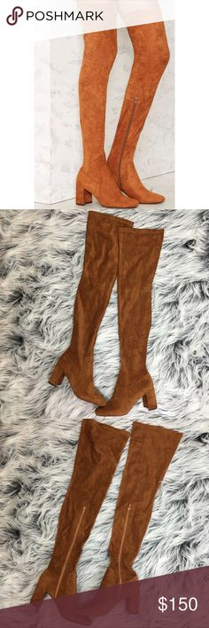 New Jeffrey Campbell Cinega Over The Knee Boots Brand new and never worn. Size 7.5. Camel. Thigh high over the knee. Interior zip. No trades!! Jeffrey Campbell Shoes Over the Knee Boots