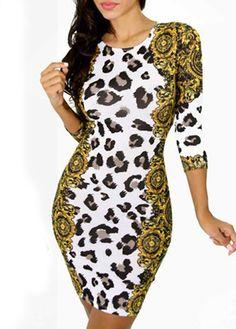 Enchanting Round Neck Three Quarter Sleeve Printed Dress