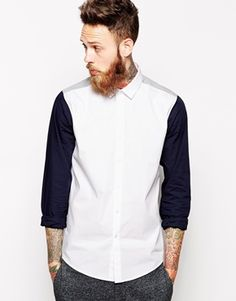 ASOS Smart Shirt In Long Sleeve With Contrast Sleeves