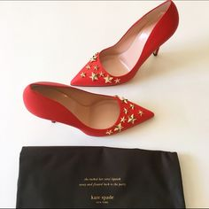 """Kate Spade Red Leather Pumps NWT & box. Kate Spade pumps in red. Gold star detail on pointed toe. Leather. Beautiful!!!    Heel height is 4"""". kate spade Shoes Heels"""