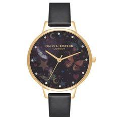 Olivia Burton Watch (OB16WG82)   WatchShop.com™ Black And Gold Watch, Black Gold, Black Leather, Night Garden, Hand Watch, Cheap Gifts, Olivia Burton, Stars And Moon, Quartz