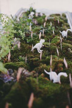 Venue: The Stone House, Little Compton Photographer: Alexandra Roberts Florals: Sayles Livingston Design Dinosaur Wedding, Little Compton, Mini Terrarium, Livingston, Rhode Island, Orchids, Style Me, Dream Wedding, Place Cards