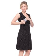 Viva la Mama   Nursing dress GWEN (black/polka-dots). This breathtaking knee-length breast feeding dress charms everybody with its beautifully deep neckline which is beautiful but also functional for discreet nursing. It can be varied for different occasions, from elegant to casual.
