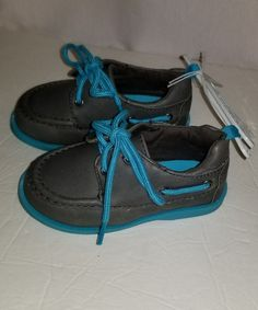 Loafer Style Boys Shoes Hard Sole Slip On Boat Shoes Faux Laces Gray & Teal Sz 5 #KoalaKids #CasualShoes